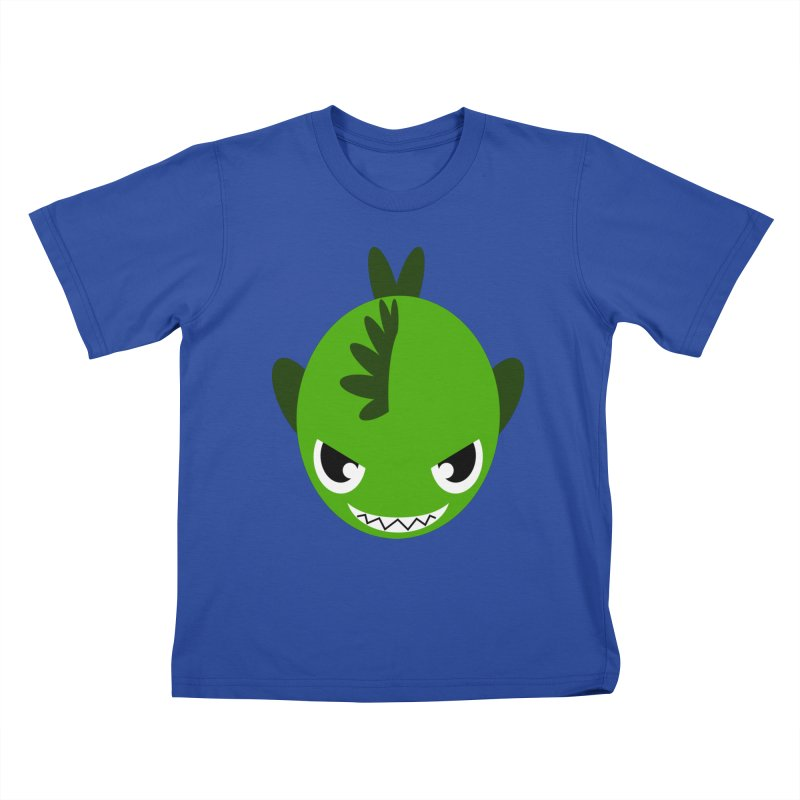 Green piranha Kids T-shirt by Kiemura Merchandise