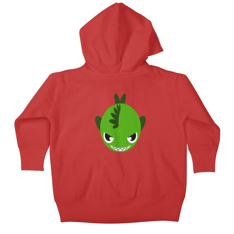 Green piranha Kids Baby Zip-Up Hoody by Kiemura Merchandise