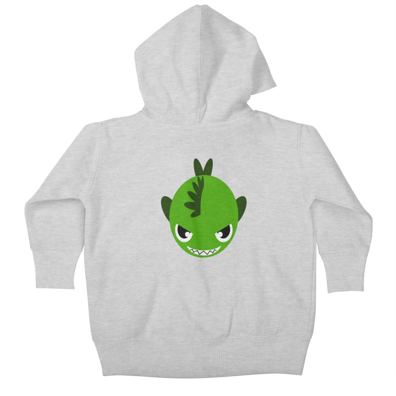 Green piranha Kids Baby Zip-Up Hoody by Kiemura Merchandise