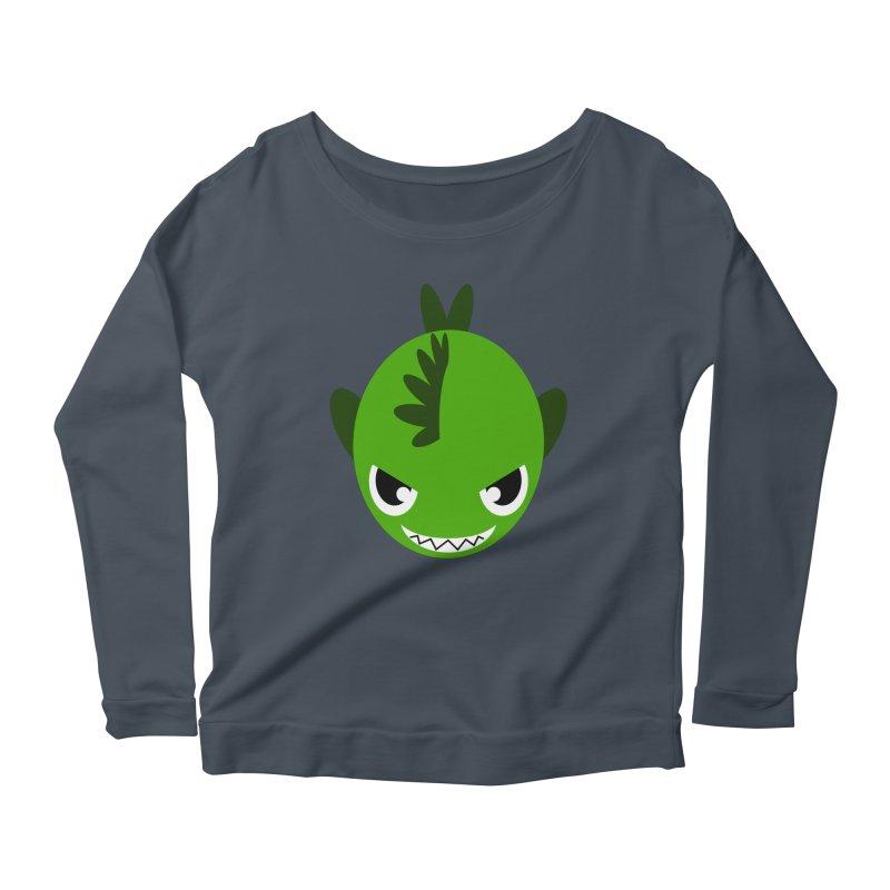 Green piranha Women's Scoop Neck Longsleeve T-Shirt by Kiemura Merchandise