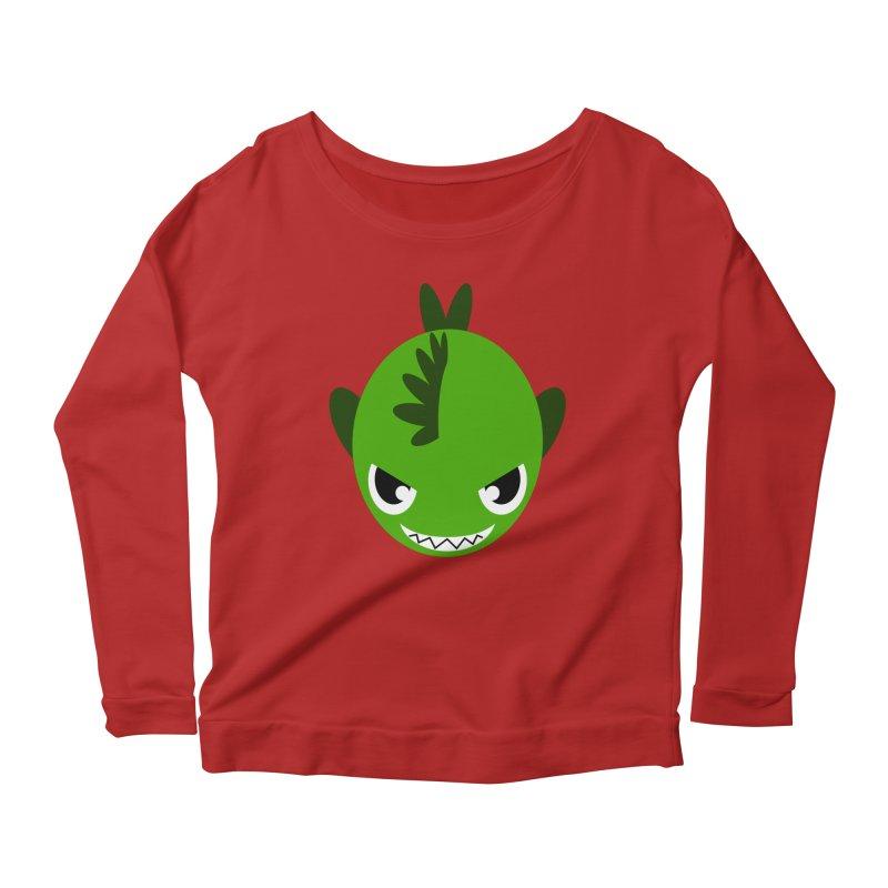 Green piranha Women's Longsleeve Scoopneck  by Kiemura Merchandise