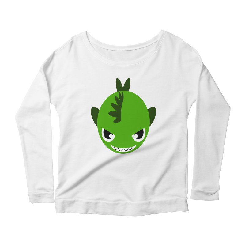 Green piranha Women's Scoop Neck Longsleeve T-Shirt by Kiemura Merchandise