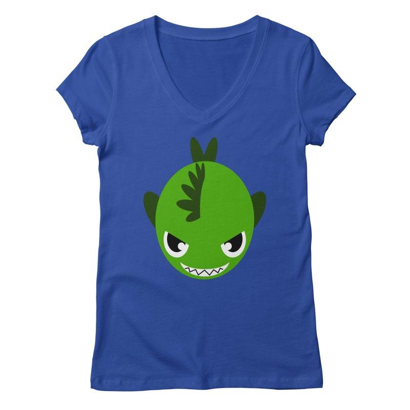 Green piranha Women's Regular V-Neck by Kiemura Merchandise