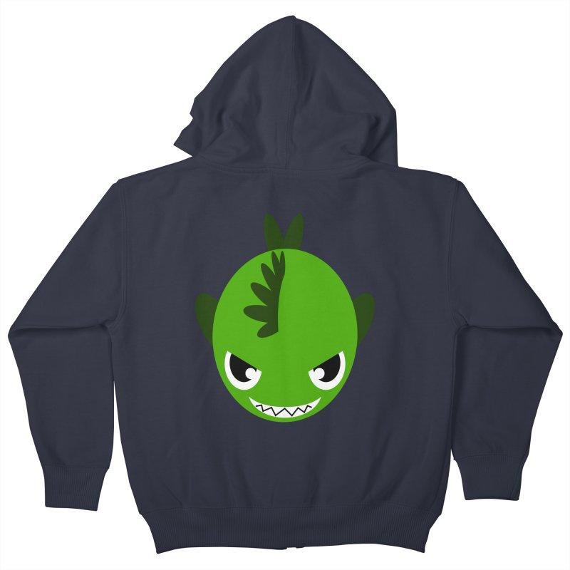 Green piranha Kids Zip-Up Hoody by Kiemura Merchandise