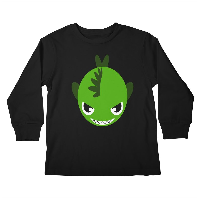 Green piranha Kids Longsleeve T-Shirt by Kiemura Merchandise