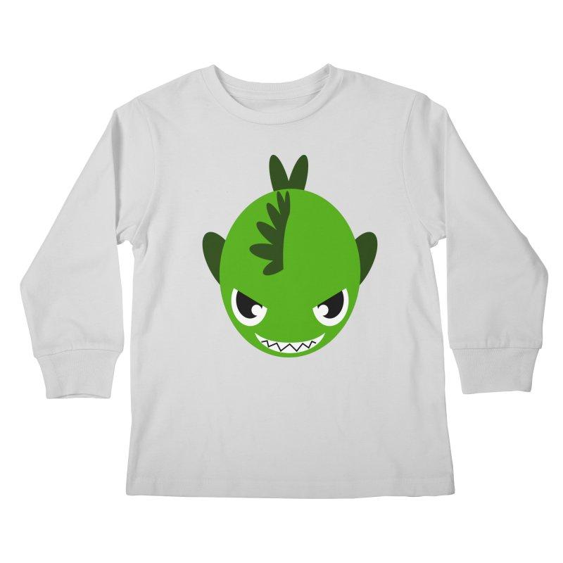 Green piranha Kids Longsleeve T-Shirt by Kiemura Merchandise
