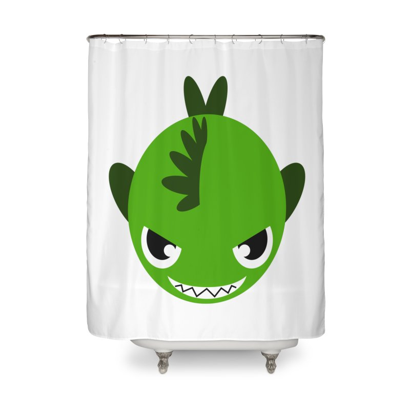Green piranha Home Shower Curtain by Kiemura Merchandise