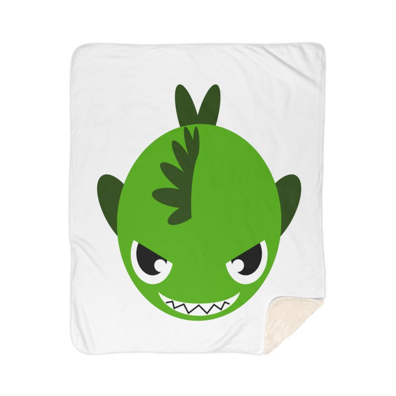 Green piranha Home Sherpa Blanket Blanket by Kiemura Merchandise