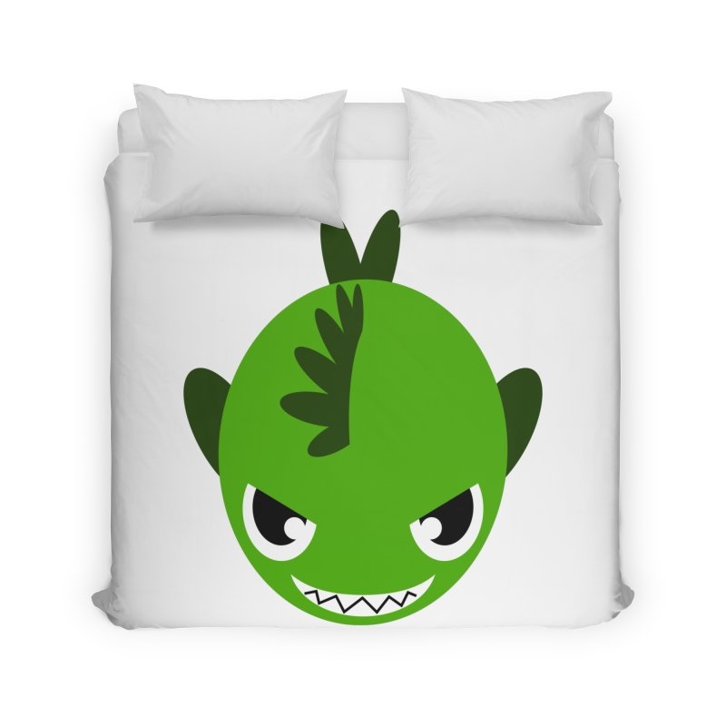 Green piranha Home Duvet by Kiemura Merchandise
