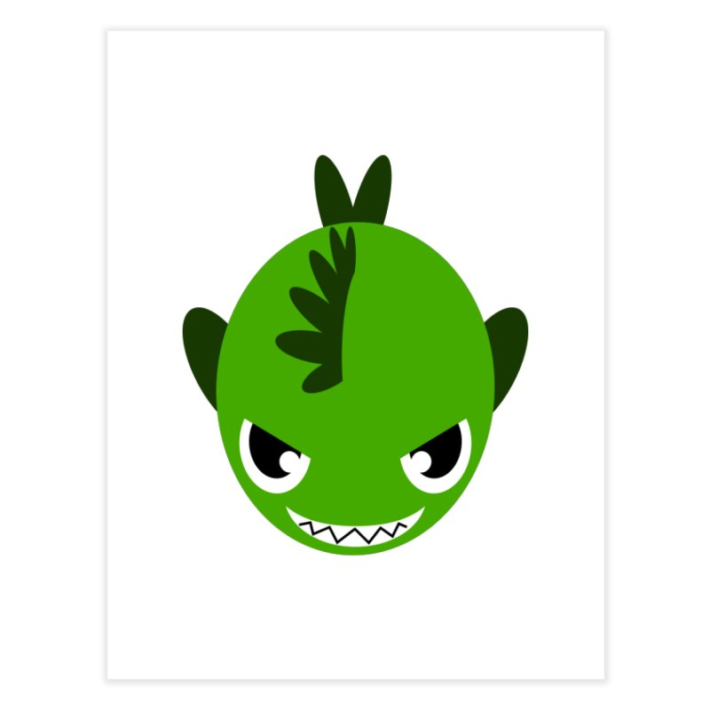 Green piranha Home Fine Art Print by Kiemura Merchandise