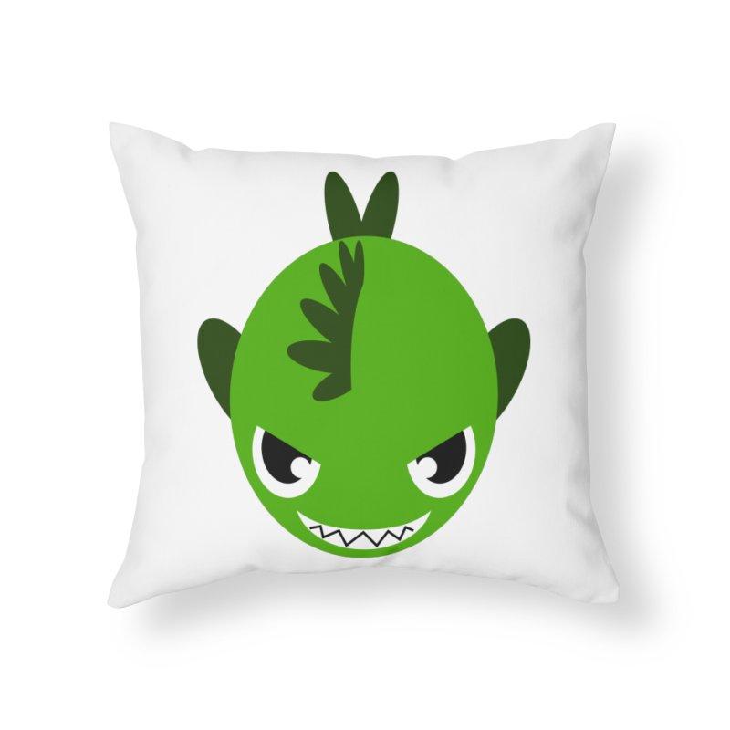 Green piranha Home Throw Pillow by Kiemura Merchandise