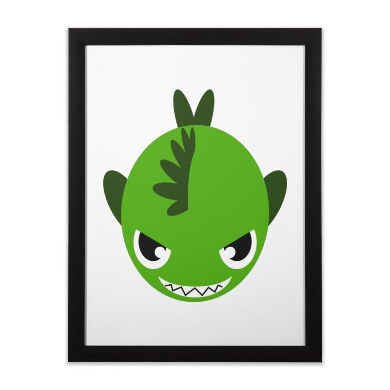 Green piranha Home Framed Fine Art Print by Kiemura Merchandise