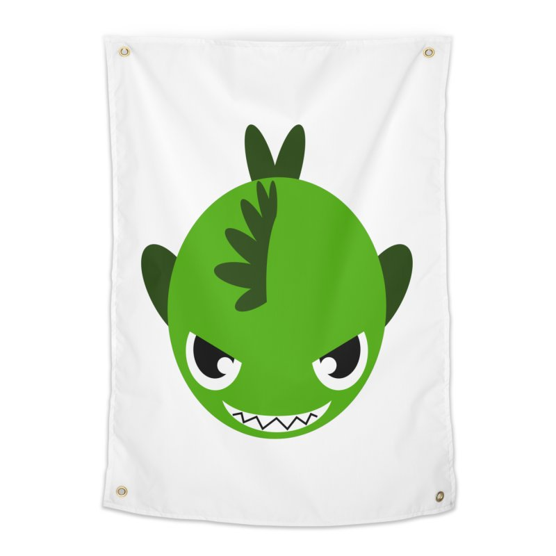 Green piranha Home Tapestry by Kiemura Merchandise