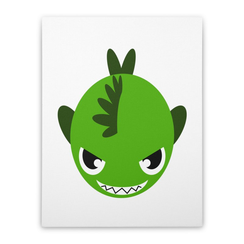 Green piranha Home Stretched Canvas by Kiemura Merchandise