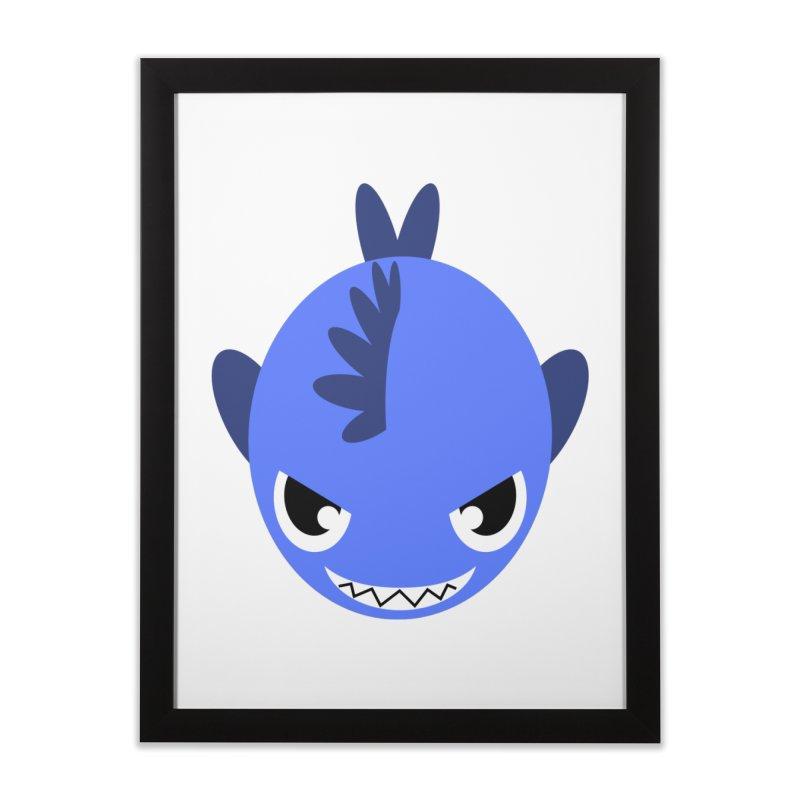 Blue piranha Home Framed Fine Art Print by Kiemura Merchandise