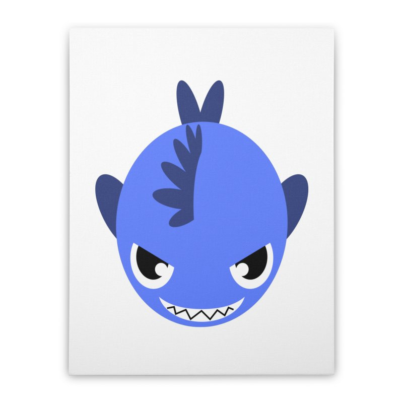 Blue piranha Home Stretched Canvas by Kiemura Merchandise