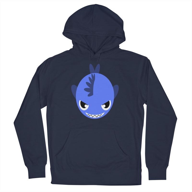 Blue piranha Women's French Terry Pullover Hoody by Kiemura Merchandise