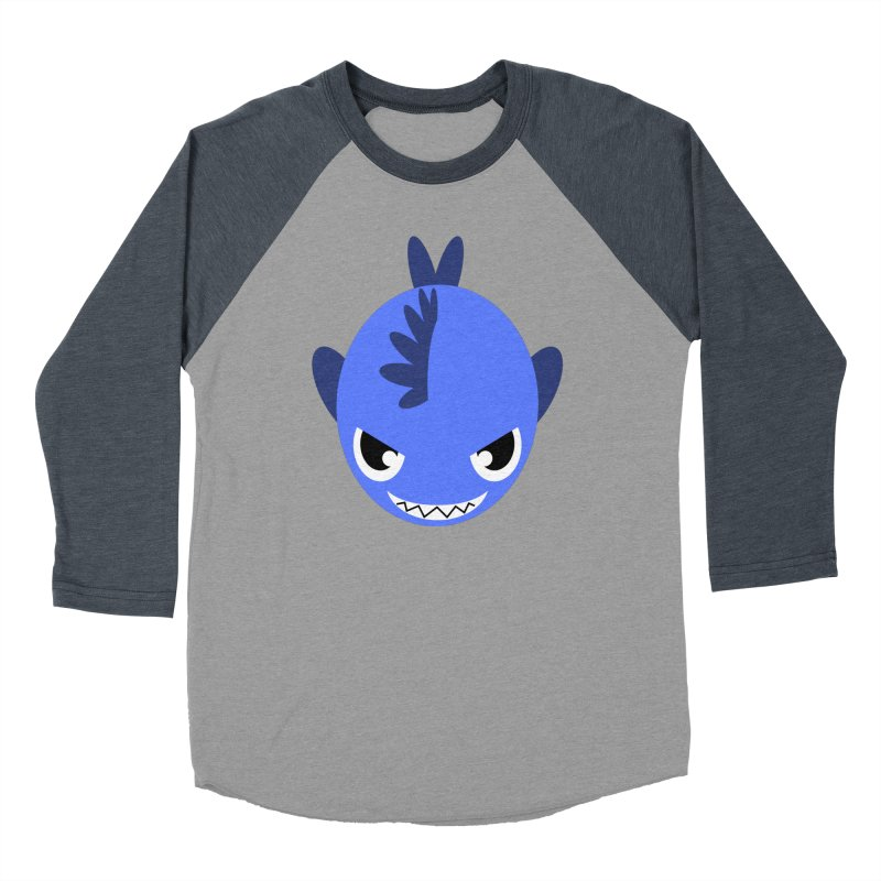 Blue piranha Men's Baseball Triblend T-Shirt by Kiemura Merchandise