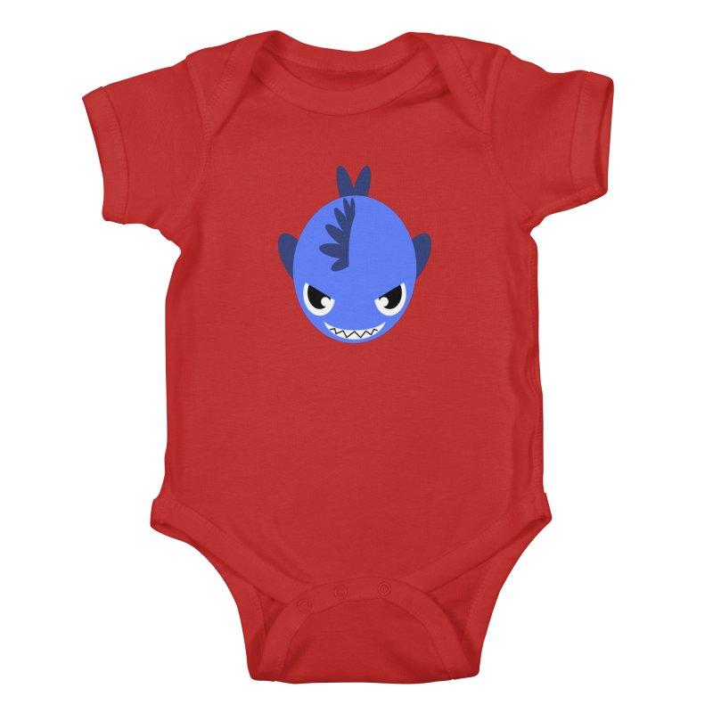 Blue piranha Kids Baby Bodysuit by Kiemura Merchandise