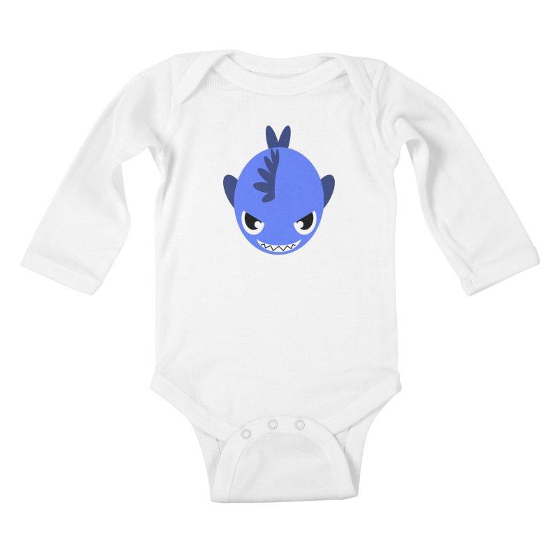 Blue piranha Kids Baby Longsleeve Bodysuit by Kiemura Merchandise