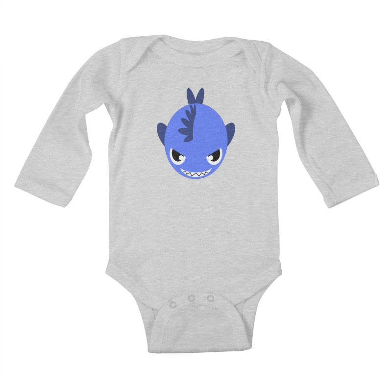 Blue piranha Kids Baby Longsleeve Bodysuit by Kiemura Merchandise