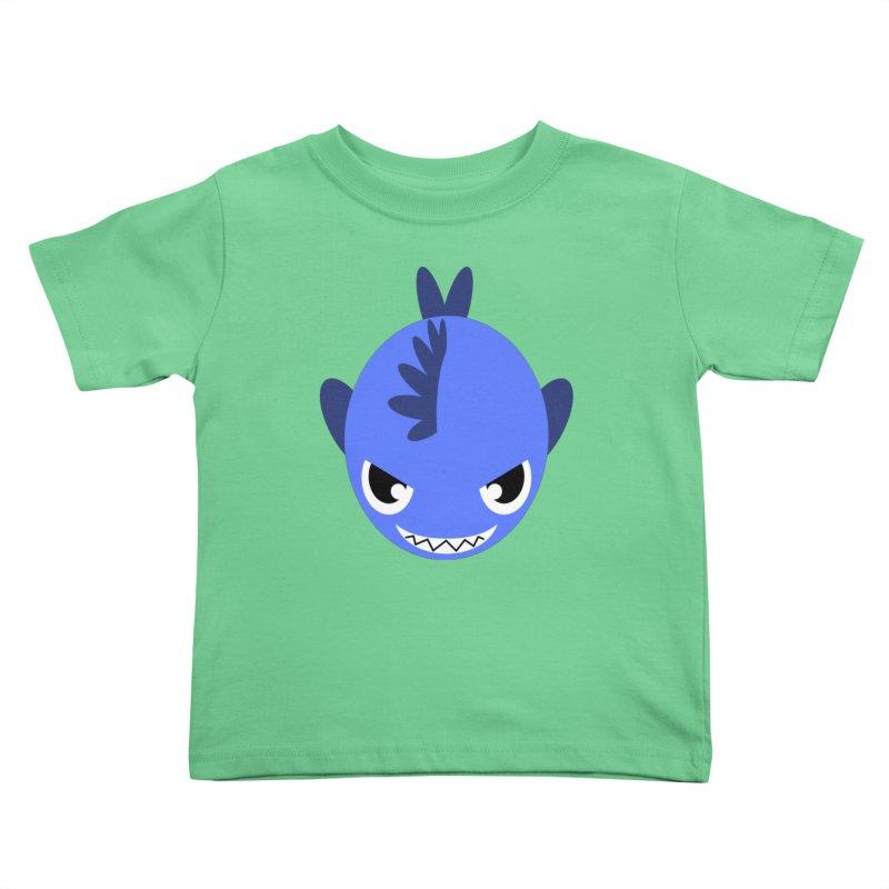 Blue piranha Kids Toddler T-Shirt by Kiemura Merchandise