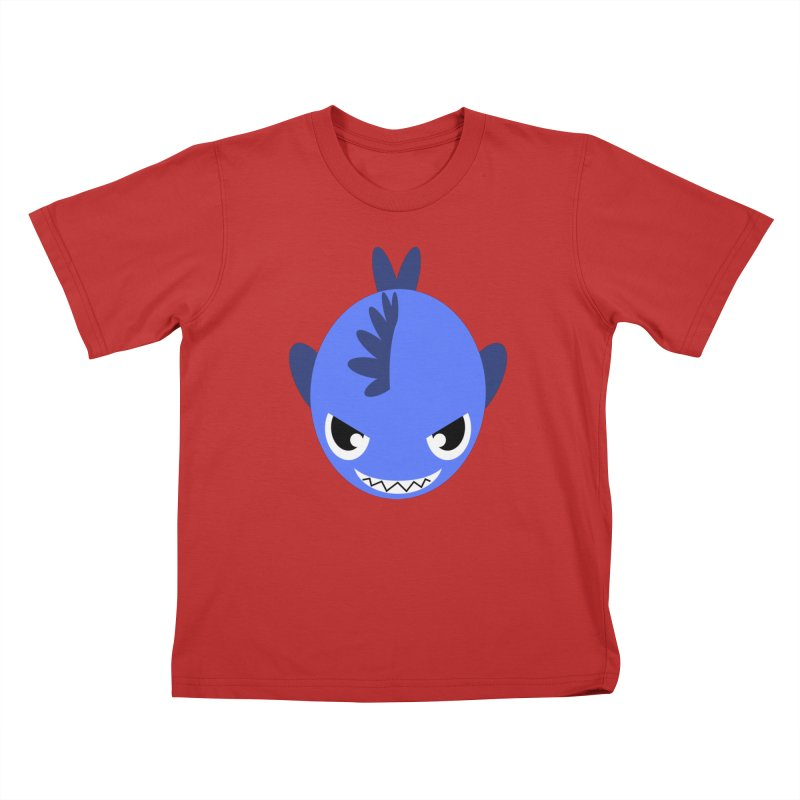 Blue piranha Kids T-Shirt by Kiemura Merchandise