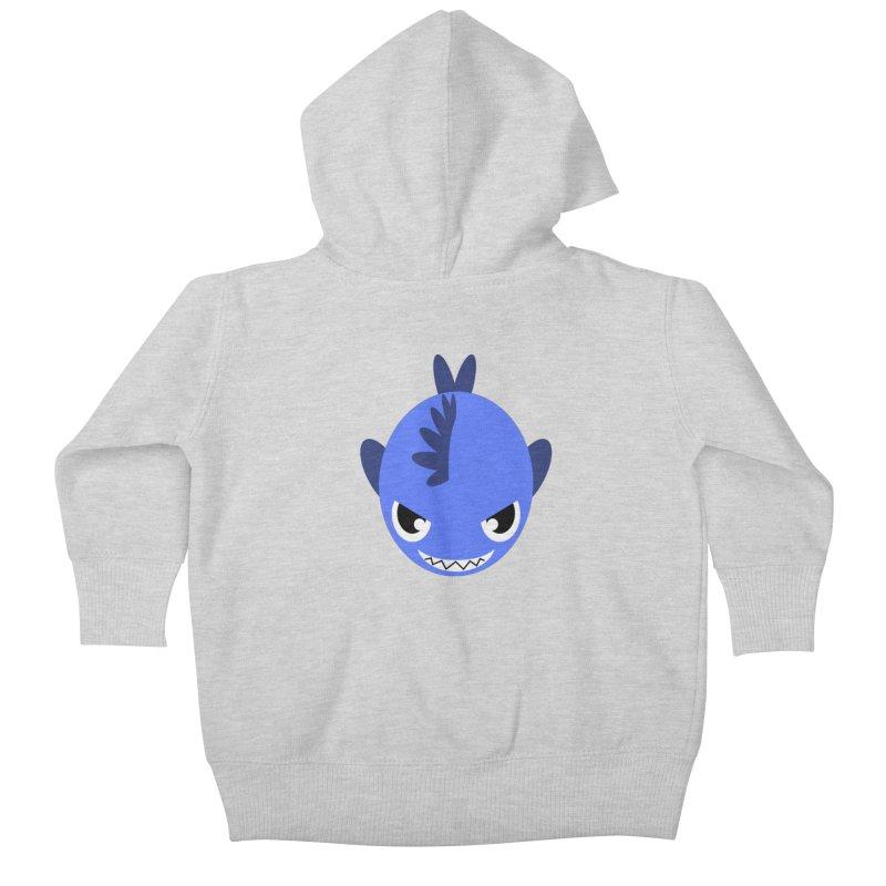 Blue piranha Kids Baby Zip-Up Hoody by Kiemura Merchandise