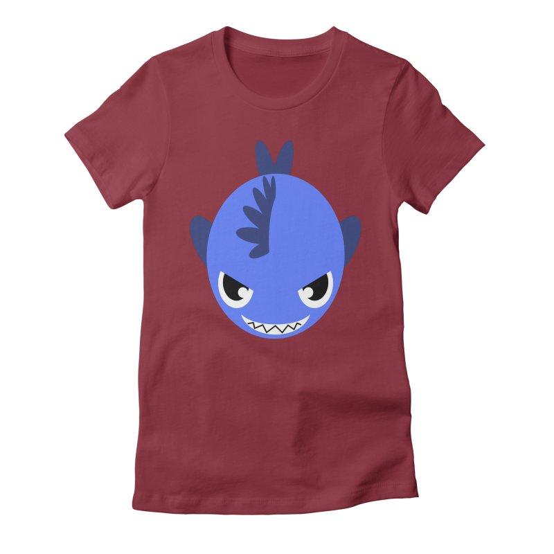 Blue piranha Women's Fitted T-Shirt by Kiemura Merchandise