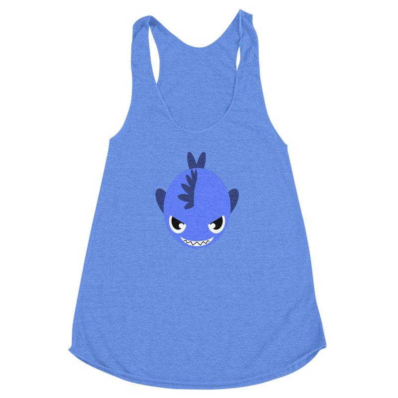 Blue piranha Women's Racerback Triblend Tank by Kiemura Merchandise