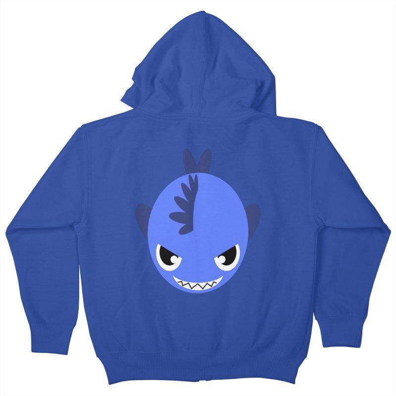 Blue piranha Kids Zip-Up Hoody by Kiemura Merchandise
