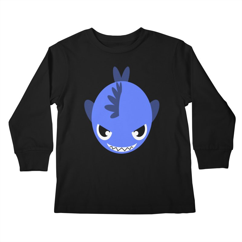 Blue piranha Kids Longsleeve T-Shirt by Kiemura Merchandise