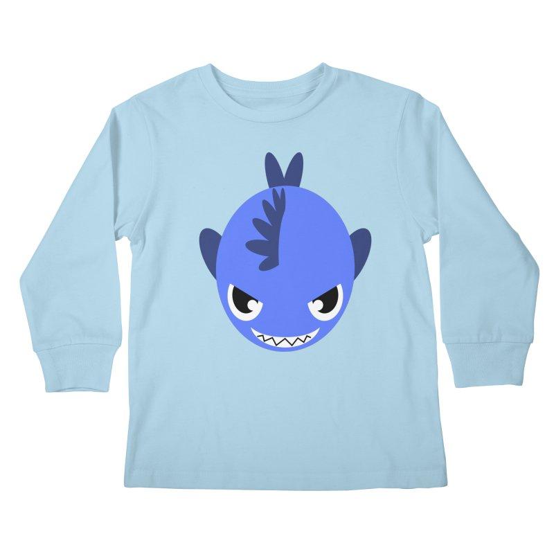 Blue piranha Kids Longsleeve T-Shirt by Kiemura Merchandise