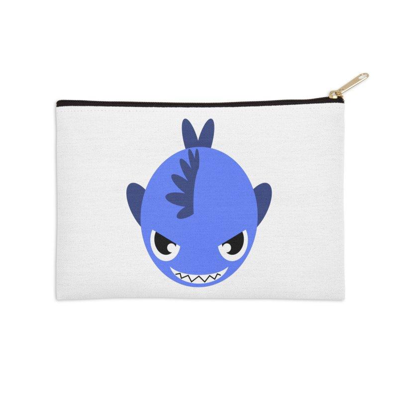 Blue piranha Accessories Zip Pouch by Kiemura Merchandise