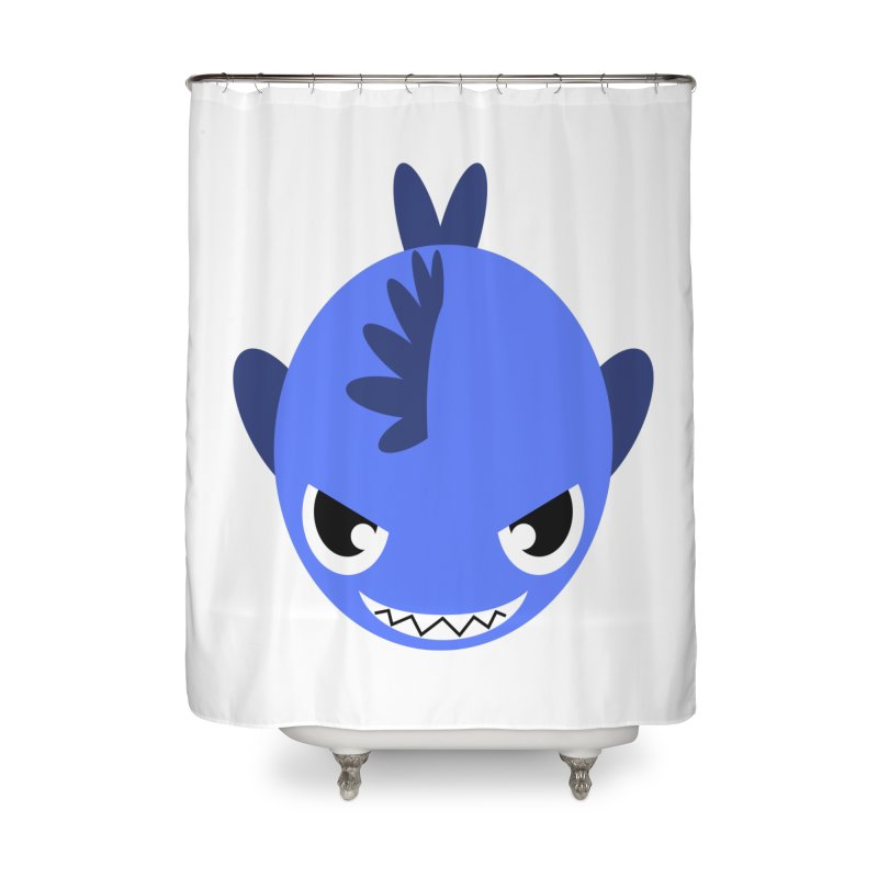 Blue piranha Home Shower Curtain by Kiemura Merchandise