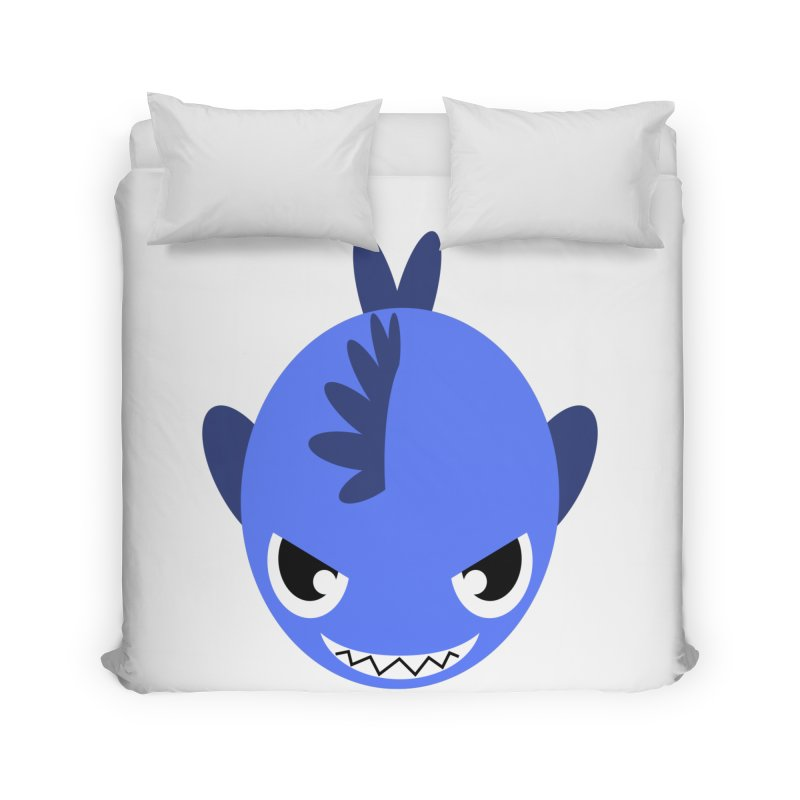 Blue piranha Home Duvet by Kiemura Merchandise
