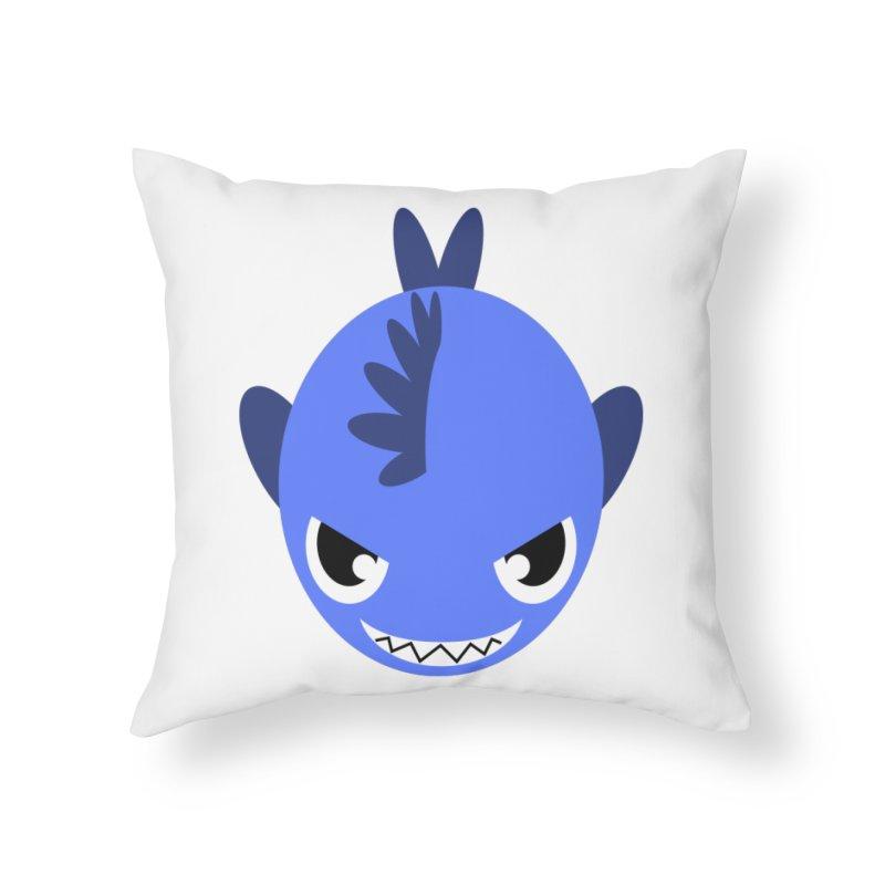 Blue piranha Home Throw Pillow by Kiemura Merchandise