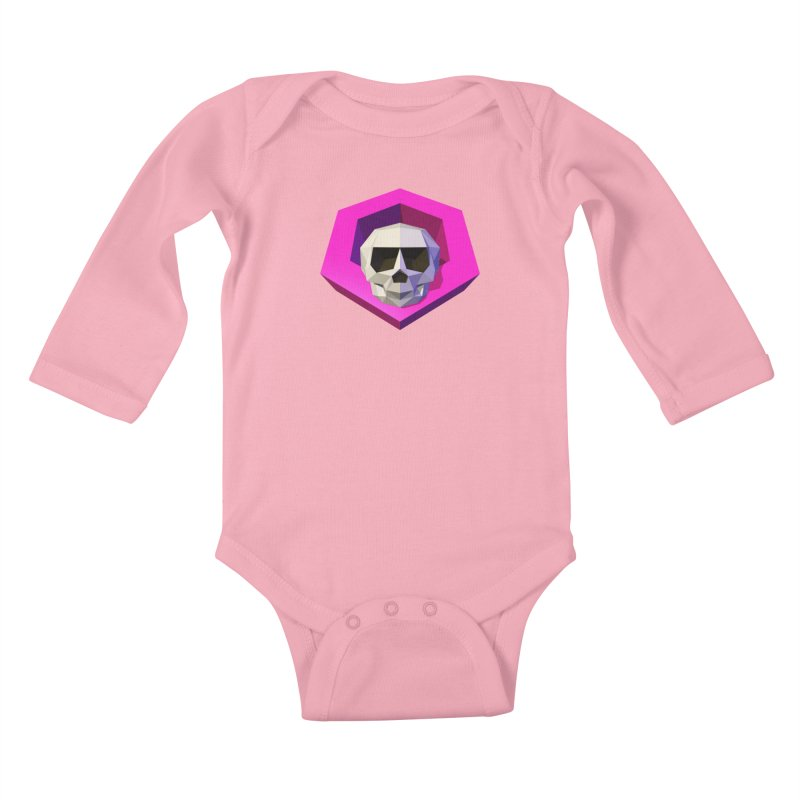 Tiltagon low-poly skull Kids Baby Longsleeve Bodysuit by Kiemura Merchandise