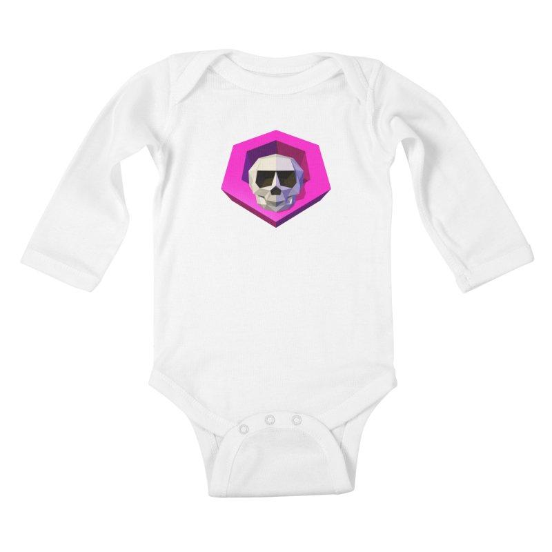Tiltagon low-poly skull Kids Baby Longsleeve Bodysuit by Kiemura Merchandise
