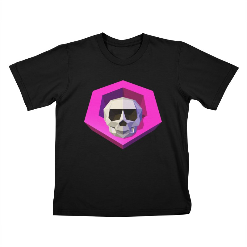 Tiltagon low-poly skull Kids T-Shirt by Kiemura Merchandise