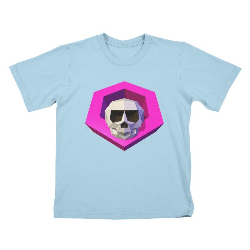 Tiltagon low-poly skull Kids T-Shirt by Kiemura Merchandise