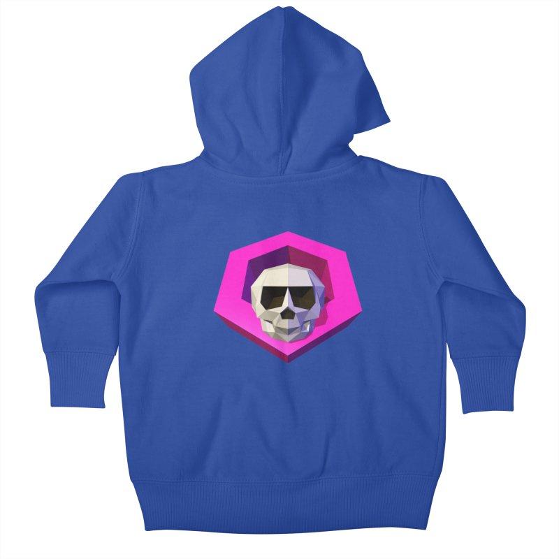 Tiltagon low-poly skull Kids Baby Zip-Up Hoody by Kiemura Merchandise