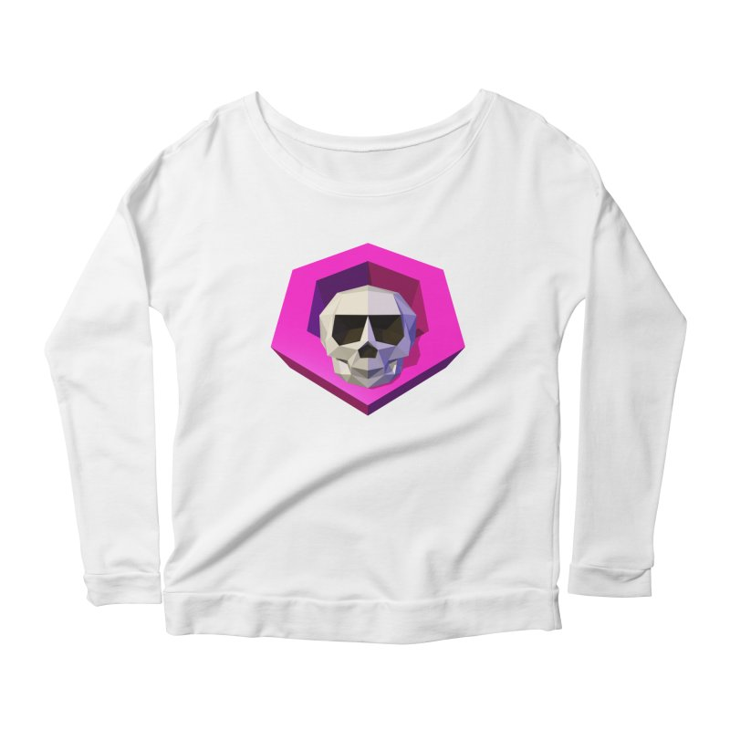 Tiltagon low-poly skull Women's Scoop Neck Longsleeve T-Shirt by Kiemura Merchandise