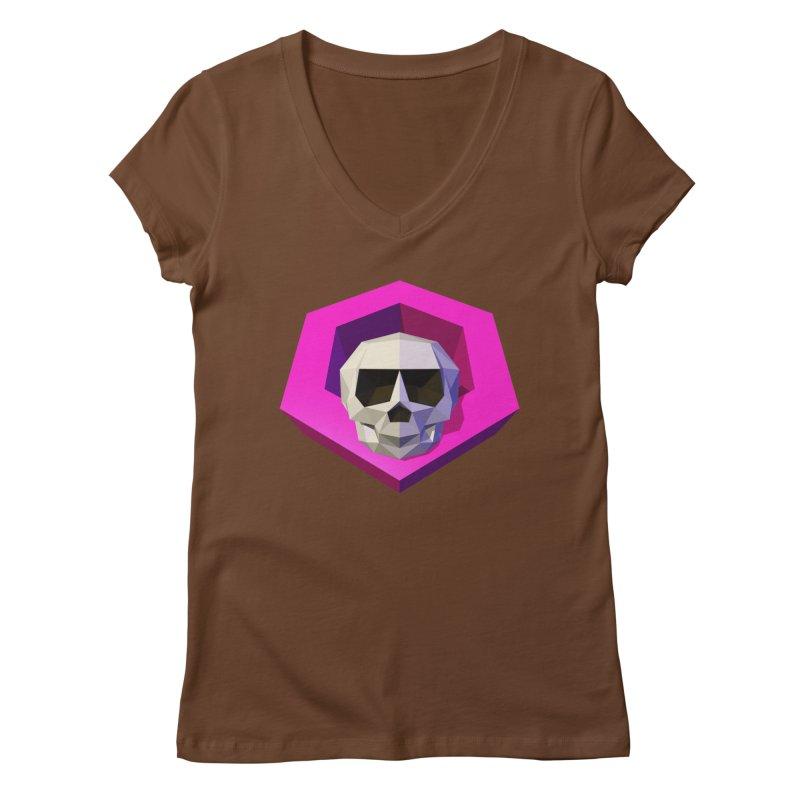 Tiltagon low-poly skull Women's V-Neck by Kiemura Merchandise