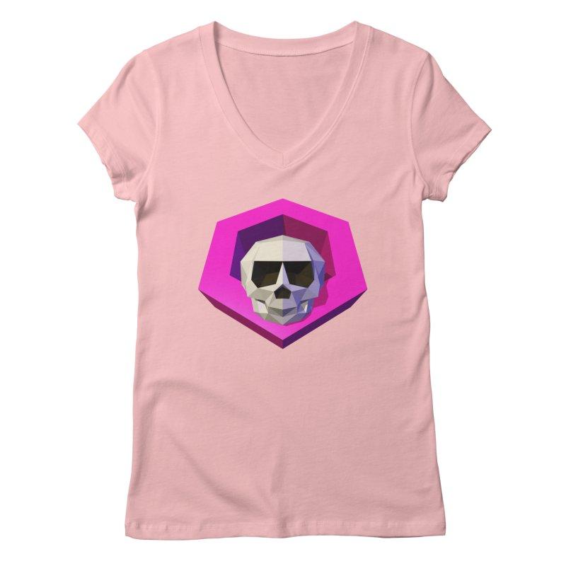 Tiltagon low-poly skull Women's Regular V-Neck by Kiemura Merchandise