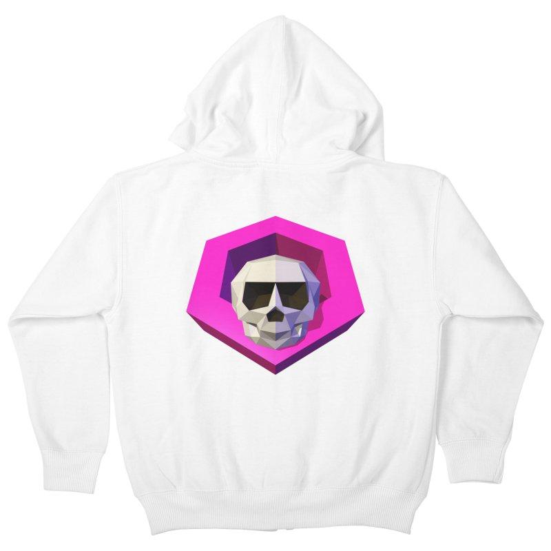 Tiltagon low-poly skull Kids Zip-Up Hoody by Kiemura Merchandise