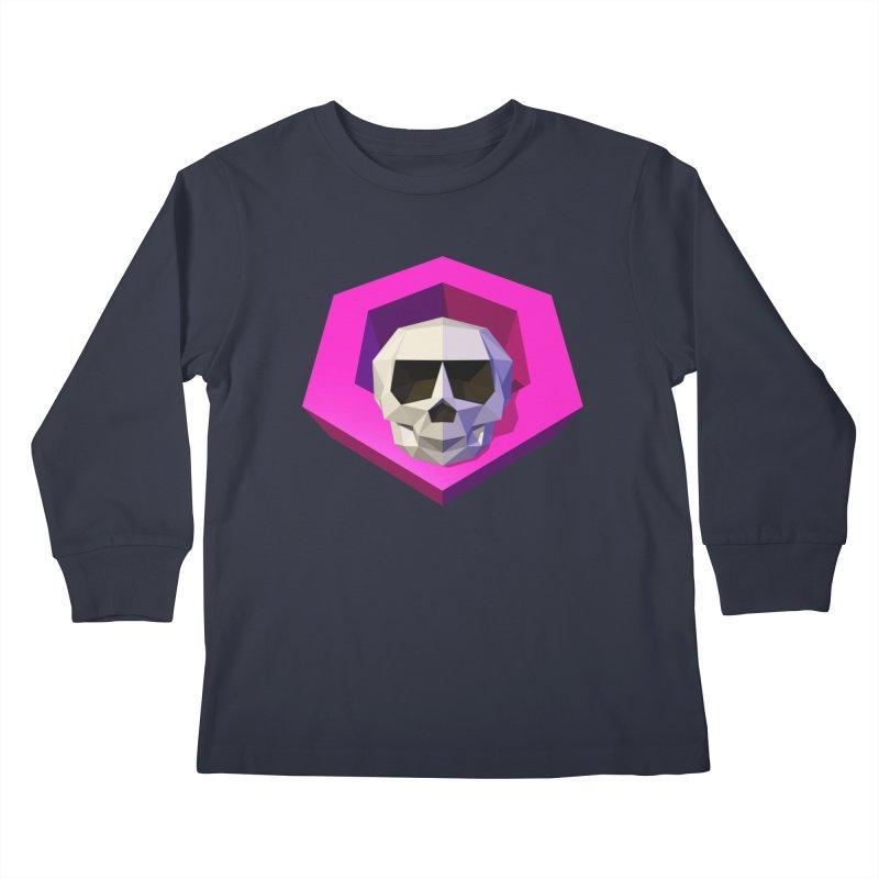 Tiltagon low-poly skull Kids Longsleeve T-Shirt by Kiemura Merchandise