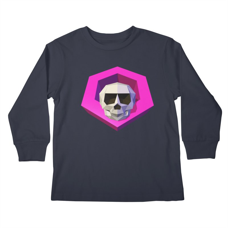 Tiltagon low-poly skull Kids Longsleeve T-Shirt by Kiemura Merchandise