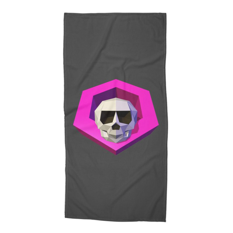 Tiltagon low-poly skull Accessories Beach Towel by Kiemura Merchandise