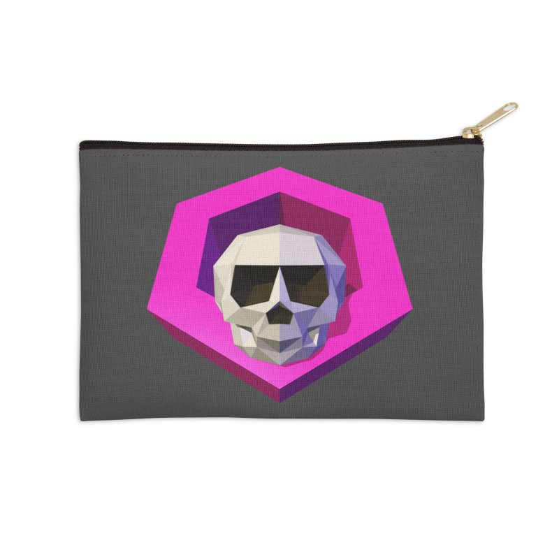 Tiltagon low-poly skull Accessories Zip Pouch by Kiemura Merchandise